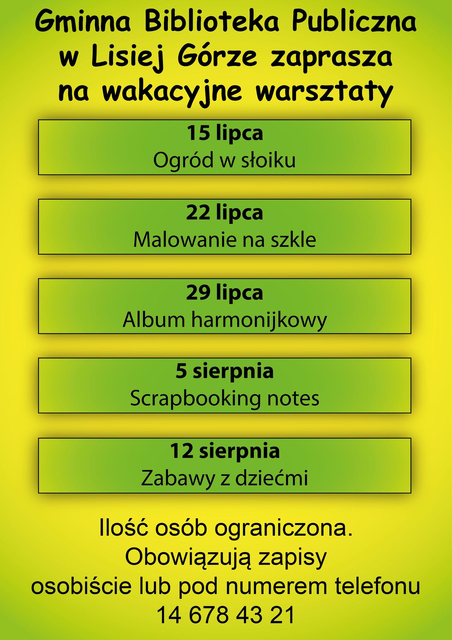 informacje dotyczące zajęć organizowanych w bibliotece w czasie wakacji