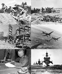 czarno-biały obraz naktórymwidnieją żołnierze, samoloty zrzucające bomby